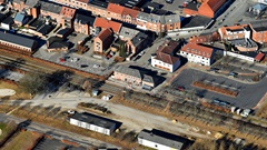 Bjerringbro Station fra oven - marts 2021.